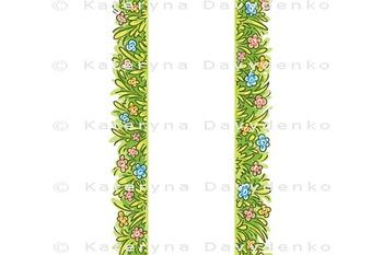 Seamless Border of Cartoon Grass and Flowers