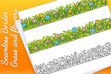 Seamless Border of Cartoon Grass and Flowers