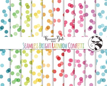 Seamless Bright Rainbow Confetti Digital Paper Set