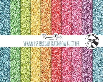 Seamless Bright Rainbow Glitter Digital Paper Set