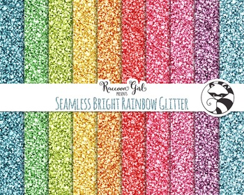 Seamless Bright Rainbow Glitter Digital Paper Set