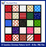 Seamless 'Christmas Patterns' Set #1 (Digital Clip Art)