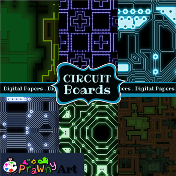 Seamless Circuit Board Digital Paper Backgrounds