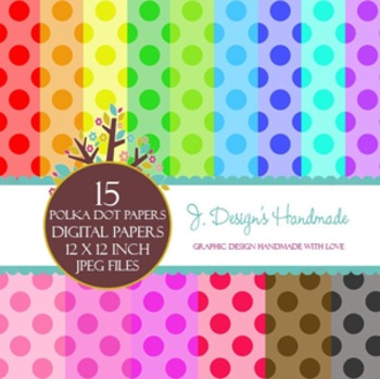 Seamless Colorful Polka Dot Digital Papers