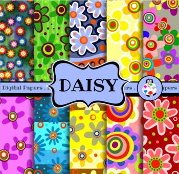 Seamless Daisy Flower Digital Paper Clip Art