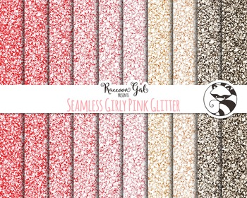 Seamless Girly Pink Glitter Digital Paper Set