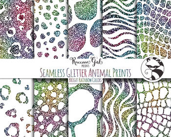 Seamless Glitter Animal Prints in Bright Rainbow Colors Digital Paper Set
