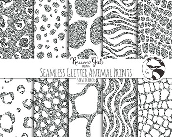 Seamless Glitter Animal Prints in Silver Colors Digital Paper Set