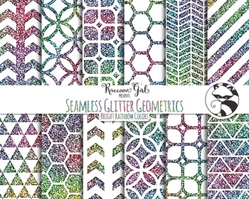 Seamless Glitter Geometrics in Bright Rainbow Colors Digit