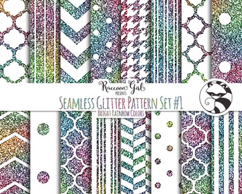 Seamless Glitter Pattern Set #1 in Bright Rainbow Colors Digital Paper Set