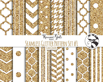 Seamless Glitter Pattern Set #1 in Gold Digital Paper Set