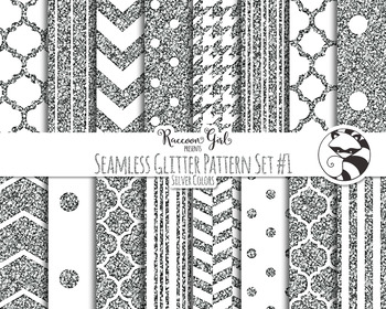 Seamless Glitter Pattern Set #1 in Silver Digital Paper Set