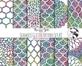 Seamless Glitter Pattern Set #2 in Bright Rainbow Colors D