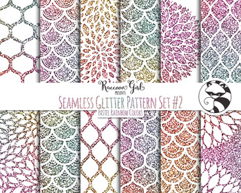 Seamless Glitter Pattern Set #2 in Pastel Rainbow Colors Digital Paper Set