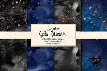 Seamless Gold Stardust digital paper patterns, watercolor galaxy night sky