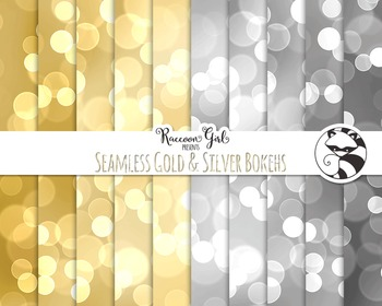 Seamless Gold and Silver Bokeh Digital Paper Set