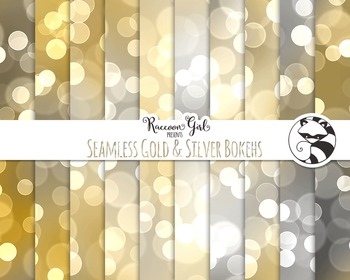 Seamless Gold and Silver Bokeh Digital Paper Set