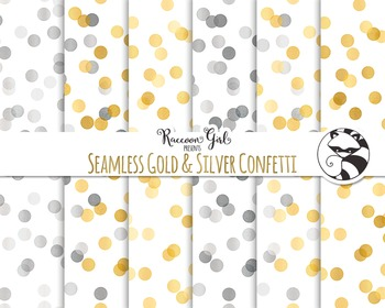 Seamless Gold and Silver Confetti Digital Paper Set