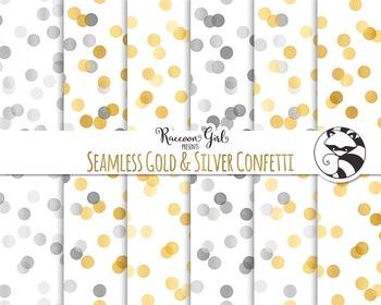 Seamless Gold and Silver Confetti Digital Paper Set