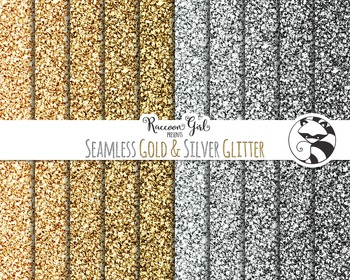 Seamless Gold and Silver Glitter Digital Paper Set