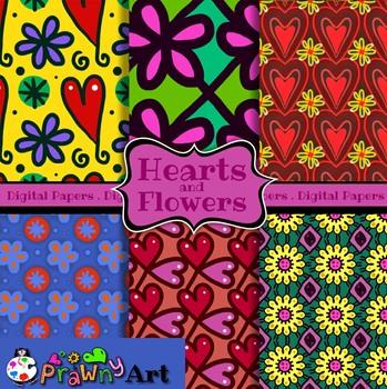Seamless Hearts & Flowers Digital Paper Patterns