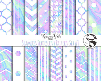 Seamless Iridescent Pattern Set #1 Digital Paper Set