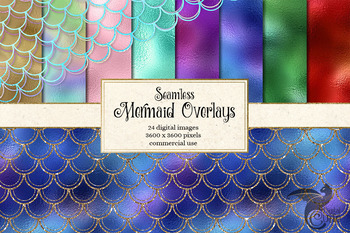 Seamless Mermaid Scale Patterns, clipart overlays, glitter mermaid scales
