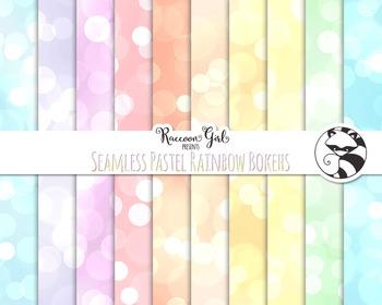 Seamless Pastel Rainbow Bokeh Digital Paper Set