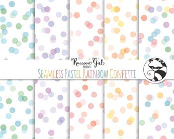 Seamless Pastel Rainbow Confetti Digital Paper Set