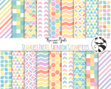 Seamless Pastel Rainbow Geometric Pattern Digital Paper Set