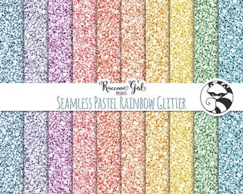 Seamless Pastel Rainbow Glitter Digital Paper Set