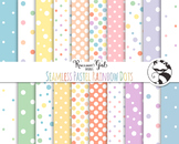 Seamless Pastel Rainbow Polka Dot Digital Paper Set