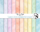 Seamless Pastel Rainbow Watercolor Digital Paper Set