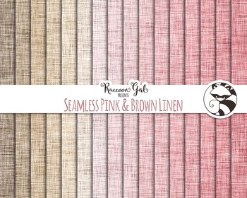 Seamless Pink & Brown Linen Digital Paper Set