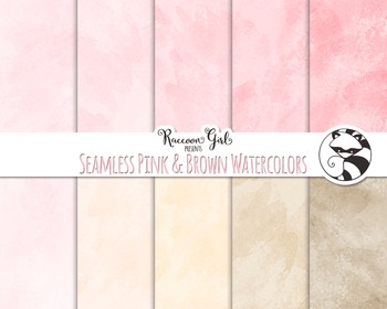 Seamless Pink and Brown Watercolor Texture Digital Paper Set