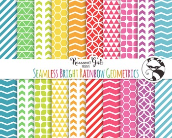 Seamless Bright Rainbow Geometric Pattern Digital Paper Set