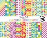 Seamless Bright Rainbow Geometric Pattern Digital Paper Set