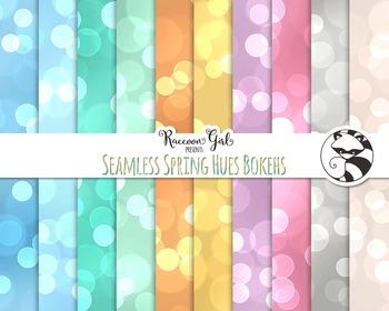 Seamless Spring Hues Bokeh Digital Paper Set
