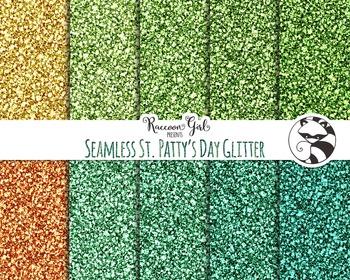 Seamless St. Pattys Day Glitter Digital Paper Set