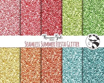 Seamless Summer Fiesta Glitter Digital Paper Set