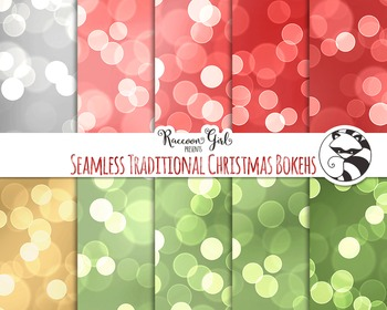 Seamless Traditional Christmas Bokeh Digital Paper Set