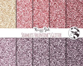 Seamless Valentine Glitter Digital Paper Set