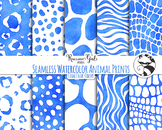 Seamless Watercolor Animal Prints in Cobalt Blue Colors Di