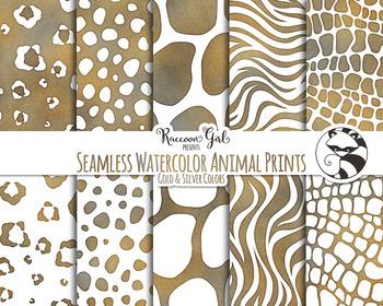 Seamless Watercolor Animal Prints in Grunge Colors Digital Paper Set