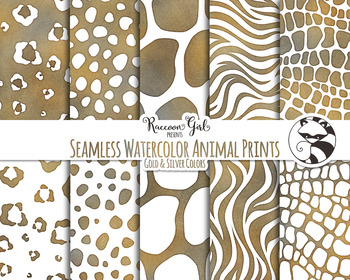 Seamless Watercolor Animal Prints in Gold and Silver Color