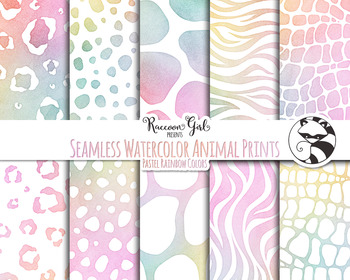 Seamless Watercolor Animal Prints in Pastel Rainbow Colors Digital Paper Set