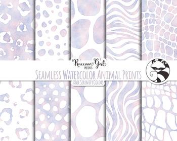 Seamless Watercolor Animal Prints in Rose Serenity Colors Digital Paper Set