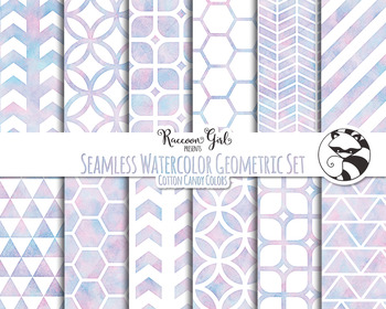 Seamless Watercolor Geometric Set in Cotton Candy Colors