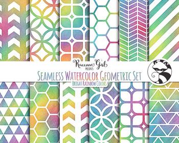 Seamless Watercolor Geometrics in Bright Rainbow Colors Digital Paper Set