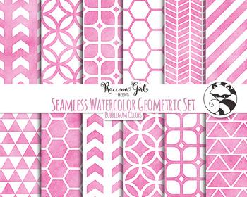 Seamless Watercolor Geometrics in Bubblegum Colors Digital Paper Set